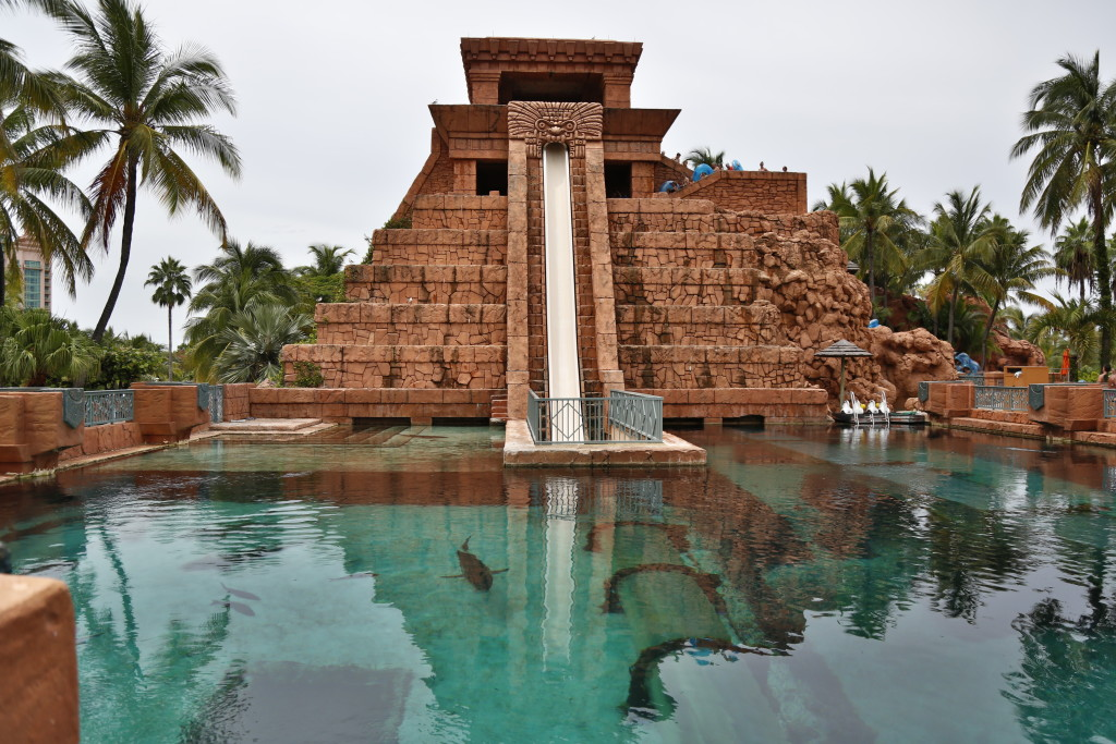 Leap Of Faith, the icon of the Atlantis Resort. Almost vertical drop into the tank